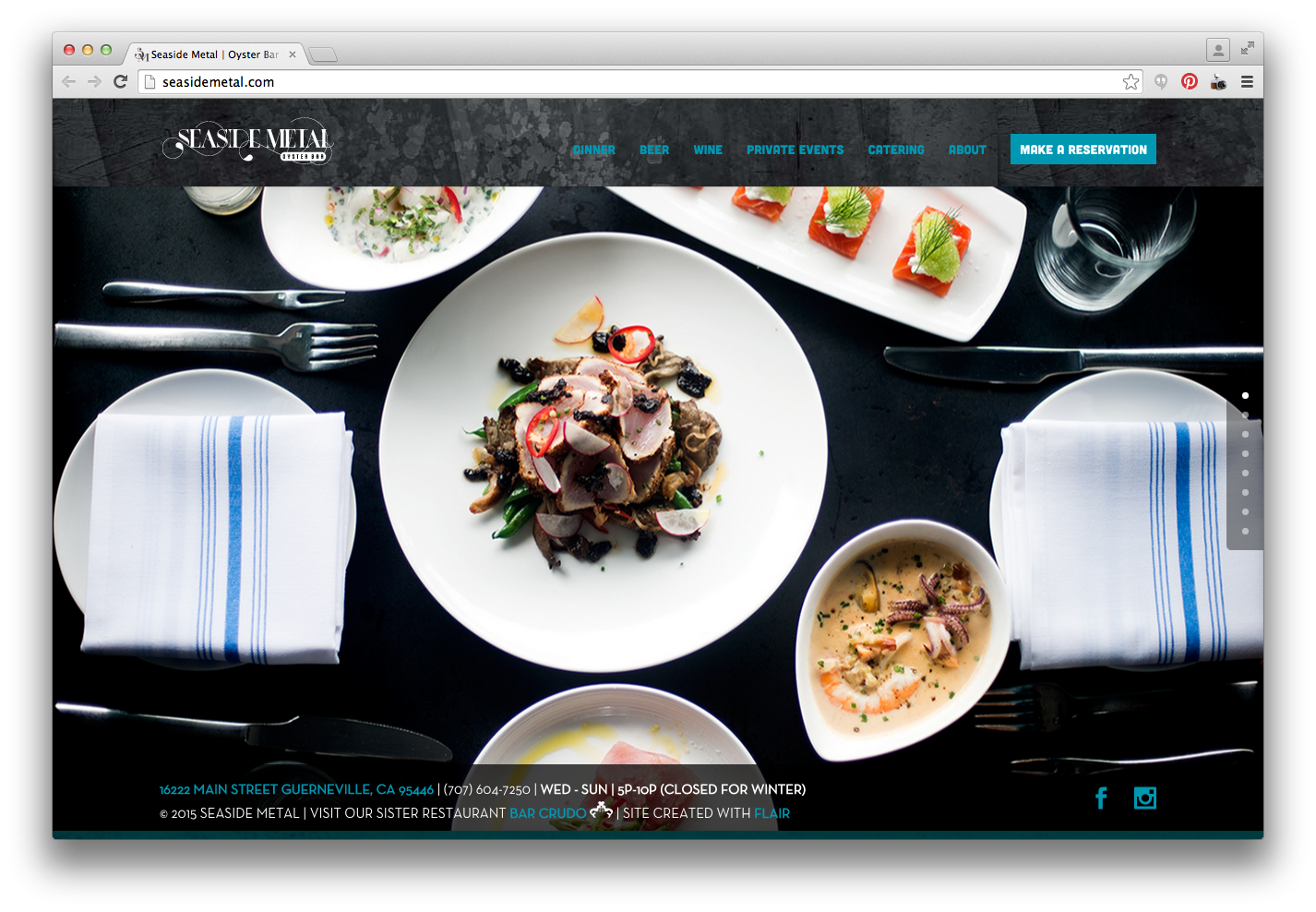Seaside Metal Restaurant Website Design