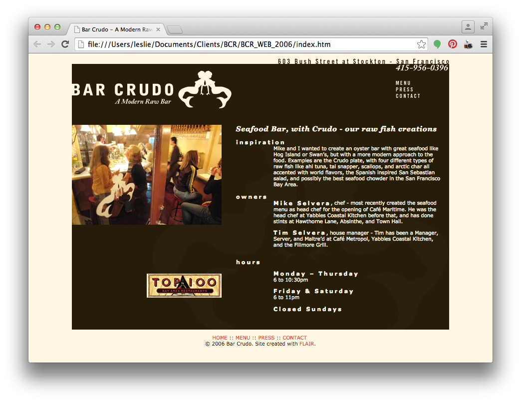 Bar Crudo 2006 Website Design by Flair Designs