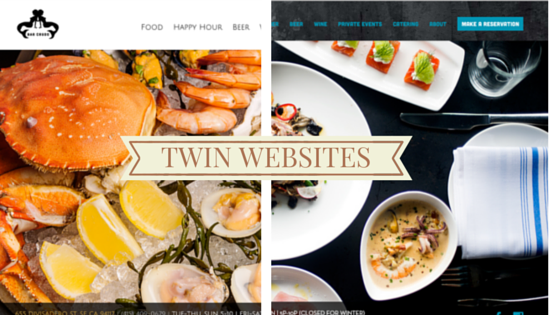 Twin restaurant website designs for twin restaurants owned by twin Brothers